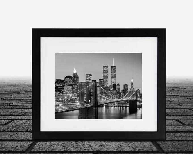 Brooklyn Bridge, Twin Towers New York, framed black and white new york photos, framed art 14x18 inch