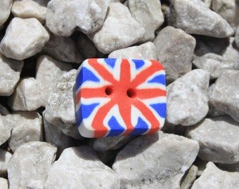 """Set of 4 Fimo """"Union Jack"""" rectangular buttons / Button in Fimo clay"""