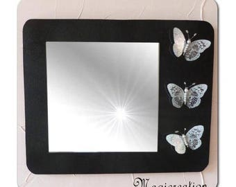 rectangle mirror black and white 3D butterflies