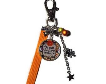"Keyring / bag charm gift ETIOPATH ""I'm super etiopath"" keychain orange and yellow"