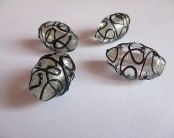 4 large glass Lampwork beads