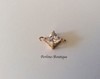 Diamond cubic zirconia set gold plated connector