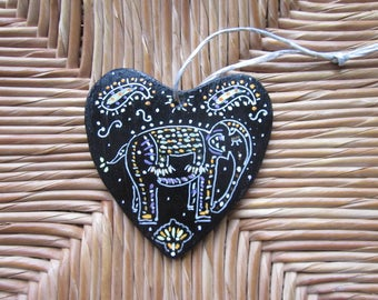 Heart wood elephant Indian wall decor black and silver