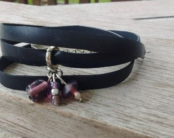Bracelet - Bracelet - Charm Bracelet - multichain Bracelet vegan leather - purple tassels Bracelet Strip in inner tube