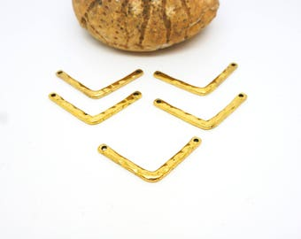 5 connectors geometric Chevron 25 * 11mm hammered gold (8SCD32)