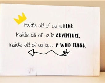 Where the Wild Things Are, wood signs, quotes, wall decor