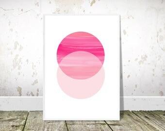 Pink circles, Printable art, Geometric Print, Pink Abstract, Nordic Print, Scandinavian Wall Art, Scandi Minimalist, Modern Abstract Decor