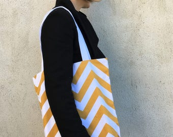 Bag Tote Bag graphic zig zag yellow mustard