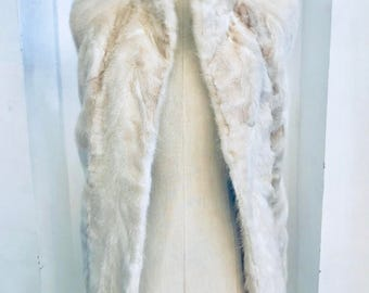 70s Ice white shaved mink gilet