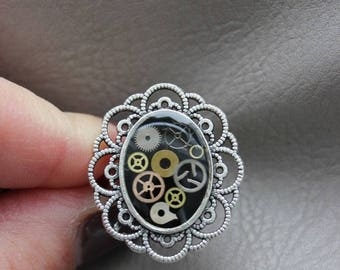 Ring oval decor lace STEAMPUNK gears and resin