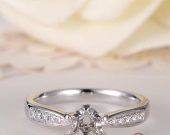 White Gold Engagement Ring Diamond Solitaire Semi Mount Half Eternity Ring Setting Wedding Bridal Woman Promise Ring
