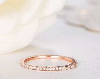 Rose Gold Wedding Band Women Diamond Wedding Ring Eternity Minimalist Simple Dainty Stacking Delicate Anniversary Promise Engraving Band
