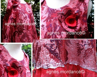 "Silk nuno ""girl on the bridge"" dress - long 1 m 20 - felted Merino silk chiffon - model single"