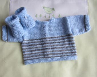 "Jacket and booties ""blue and grey"" baby size newborn handmade knit"