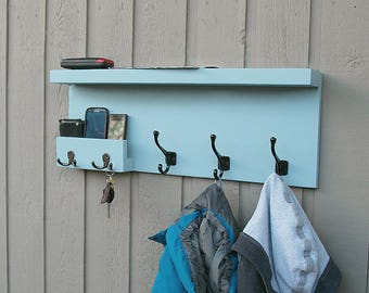 large entryway storage coat rack with pocket mail storage coat hooks key hooks shelf