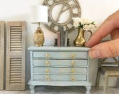 Miniature chest of drawers - duck egg blue - Dollhouse - Roombox - Diorama - 1:12 scale