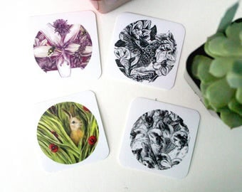 """Square Stickers  2 x 2""""  /  Sparrows, Flower, Bunny, Hummingbird  /  Individual or a set"""