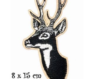 Patch embroidered patch Thermo * 8 x 15 cm * STAG deer REINDEER Christmas - Applique iron-on