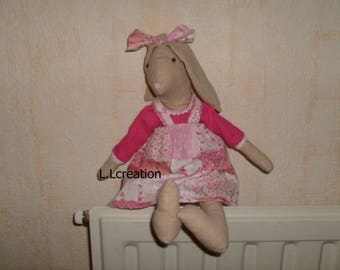 Beige Bunny and her dress in liberty fabric pink
