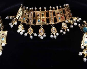 Navratan chokar set with pearls and drop earrings