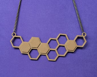 Hexagons || Honeycomb || 3D Printed || Pendant || Necklace || Great Gift || Gift for her