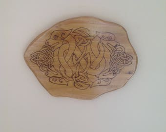 Celtic Hound Plaque,Housewarming,Gifts for her,Gifts for him,Wall Art,Anniversary,Birthday,Handcarved