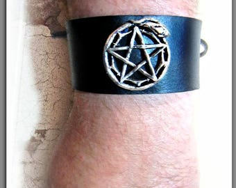 Serpent Leather Cuff, Snake Cuff, Pentacle Cuff, Ouroboros Cuff, Black Leather Cuff
