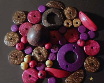 42 wood, coconut, tagua, acai berry pink, Brown, purple