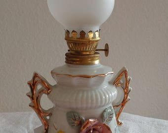 Vintage Japanese Small Porcelain Oil Lamp