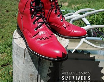 Vintage Justin Roper Ladies Lace up Boots