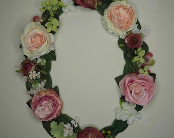 """Hanging floral letter - Pink, 18"""""""