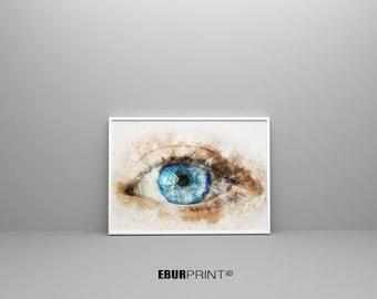 Eye anatomy, watercolor print, eye poster, ophtalmology art, print anatomy art, the human eye, medical art, wall decor, gift, Poster Eye