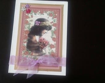 Girl with flowers greeting card blank inside