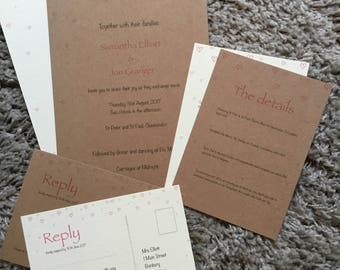 SAMPLE Hearts Wedding Invite set