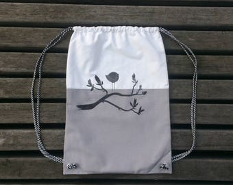 """Fabric Drawstring Backpack """"Bird on a branch"""""""