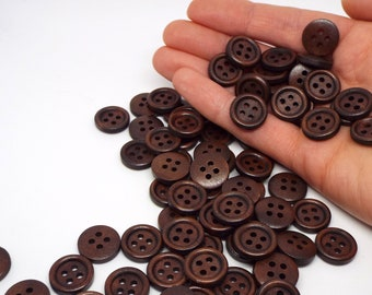 Round 4 hole dark wooden buttons 15mm