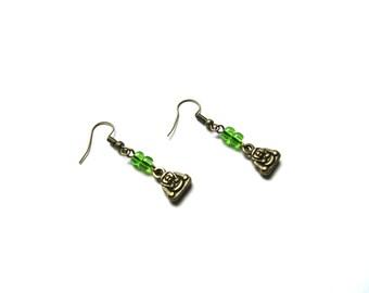 Earrings, bronze, Buddha, beads, glass, green, zen, buddhist