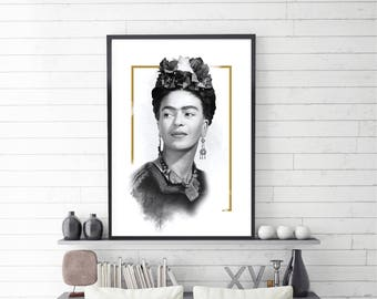 Frida Kahlo Art, Frida Kahlo Poster, Frida Kahlo Portrait, Celebrity Portrait, Frida Kahlo, Illustration, Digital Download, Large Size