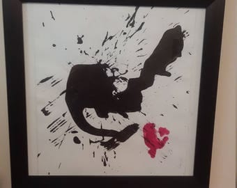 "INK SPOT ""ameriica torn apart"" framed canvas painting art"