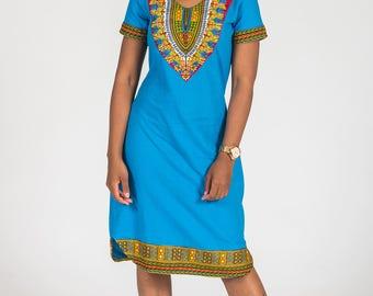 African Dashiki Print T-shirt Dress
