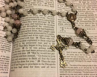 Catholic Rosary Beads - White Agate and Rose Quartz 5 Decade Rosary with Bronze French Filigree Center and Crucifix - Vintage Reproduction