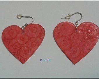 Arabesque red on Red Heart Earrings