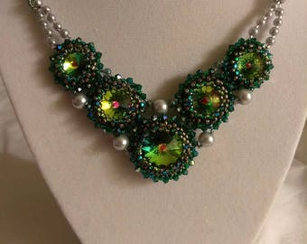 Green 5 Crystal Necklace