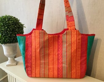 Orange and green shopping bag