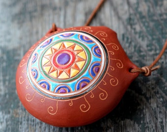 """ocarina """"Sun"""" / ceramic fluite/ F key / pentatonic ocarina"""