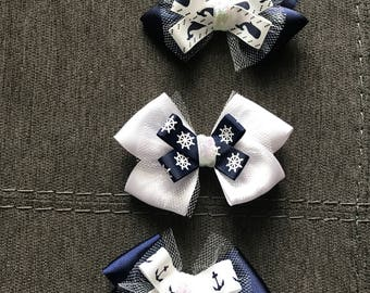 Nautical Navy Blue and White Hair Bow Set
