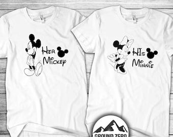 Her Mickey His Minnie Couple Set - Disney Tee Shirt Set