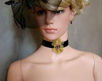 Choker of neck Marie-Antoinette 18th century velvet and lace gold