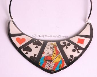Poker necklace, queen of spades necklace, spades, hearts, diamonds, clover