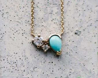 Custom Diamond And Turquoise Necklace Gemstone Gold Necklace Bague Fine Bridal Jewelry Wedding Jewelry Turquoise Jewelry Gift For Her